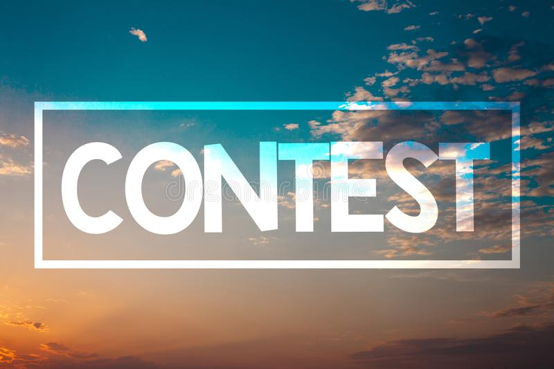 Handwriting text Contest. Concept meaning Game Tournament Competition Event Trial Conquest Battle Struggle Sunset blue beach orang. E cloudy clouds sky ideas stock photo