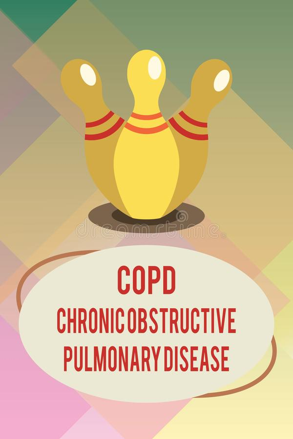 Handwriting text Copd Chronic Obstructive Pulmonary Disease. Concept meaning Lung disease Difficulty to breath.  royalty free illustration