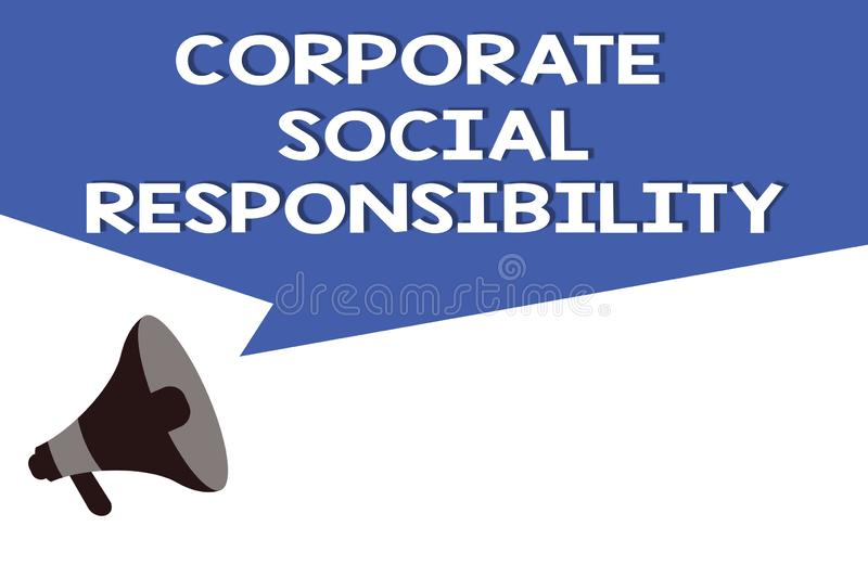 Handwriting text Corporate Social Responsibility. Concept meaning Internal corporate policy and Ethic strategy.  royalty free illustration