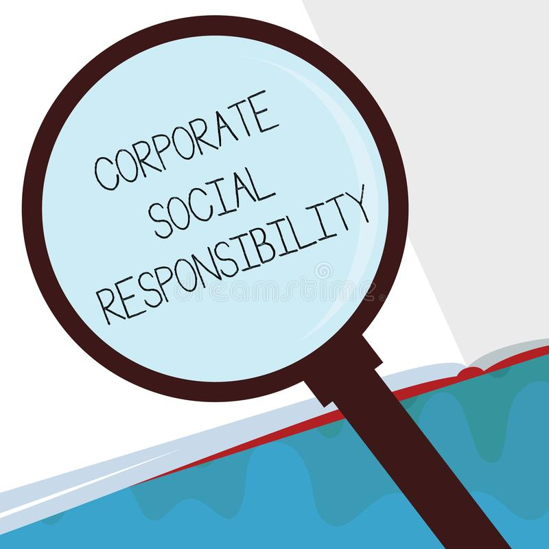 Handwriting text Corporate Social Responsibility. Concept meaning Internal corporate policy and Ethic strategy.  vector illustration