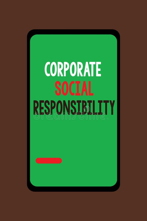 Handwriting text Corporate Social Responsibility. Concept meaning Internal corporate policy and Ethic strategy.  stock illustration