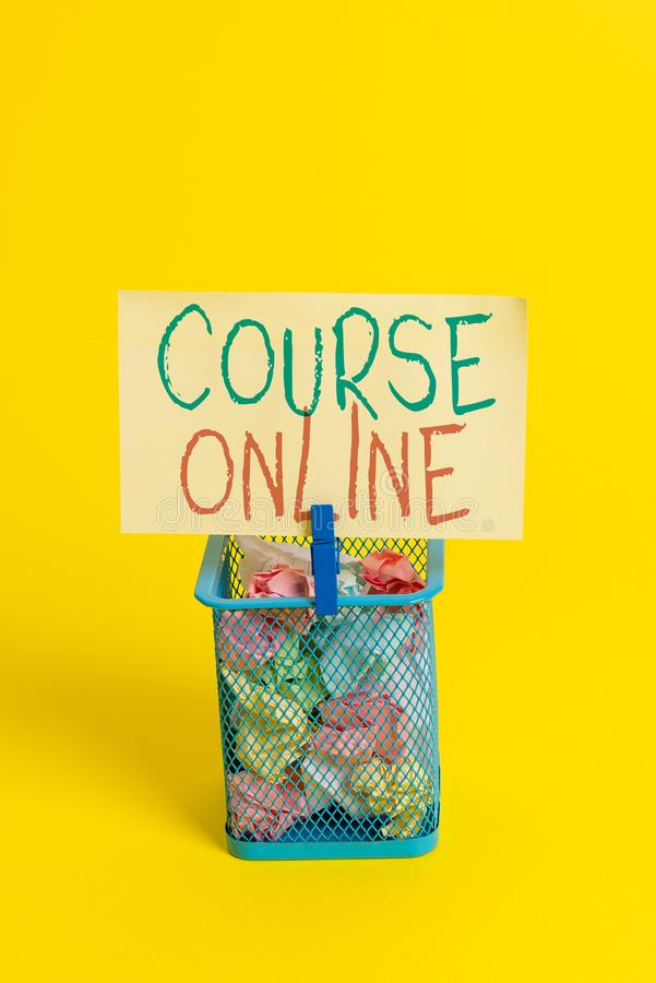 Handwriting text Course Online. Concept meaning eLearning Electronic Education Distant Study Digital Class Trash bin crumpled. Handwriting text Course Online stock image