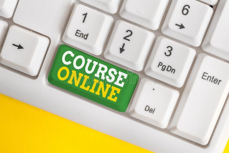 Handwriting text Course Online. Concept meaning eLearning Electronic Education Distant Study Digital Class White pc keyboard with. Handwriting text Course Online stock images