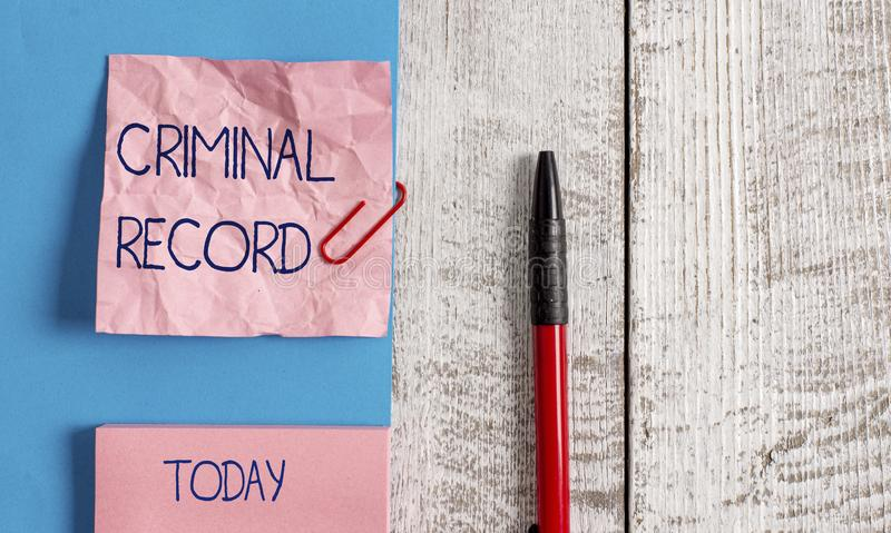 Handwriting text Criminal Record. Concept meaning profile of a demonstrating criminal history with details Wrinkle paper. Handwriting text Criminal Record royalty free stock photos