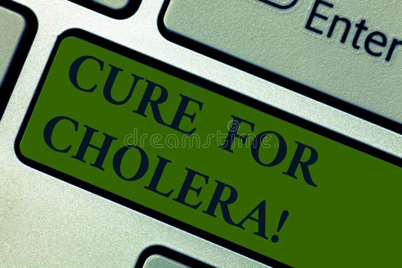 Handwriting text Cure For Cholera. Concept meaning restoration of lost fluids and salts through rehydration Keyboard key. Intention to create computer message royalty free stock photo