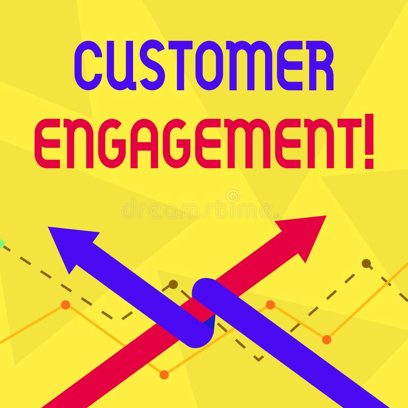 Handwriting text Customer Engagement. Concept meaning the emotional connection between a customer and a brand Two Arrows vector illustration