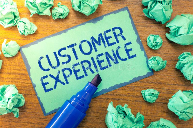 Handwriting text Customer Experience. Concept meaning Interaction between Satisfied Customer and Organization.  royalty free stock images