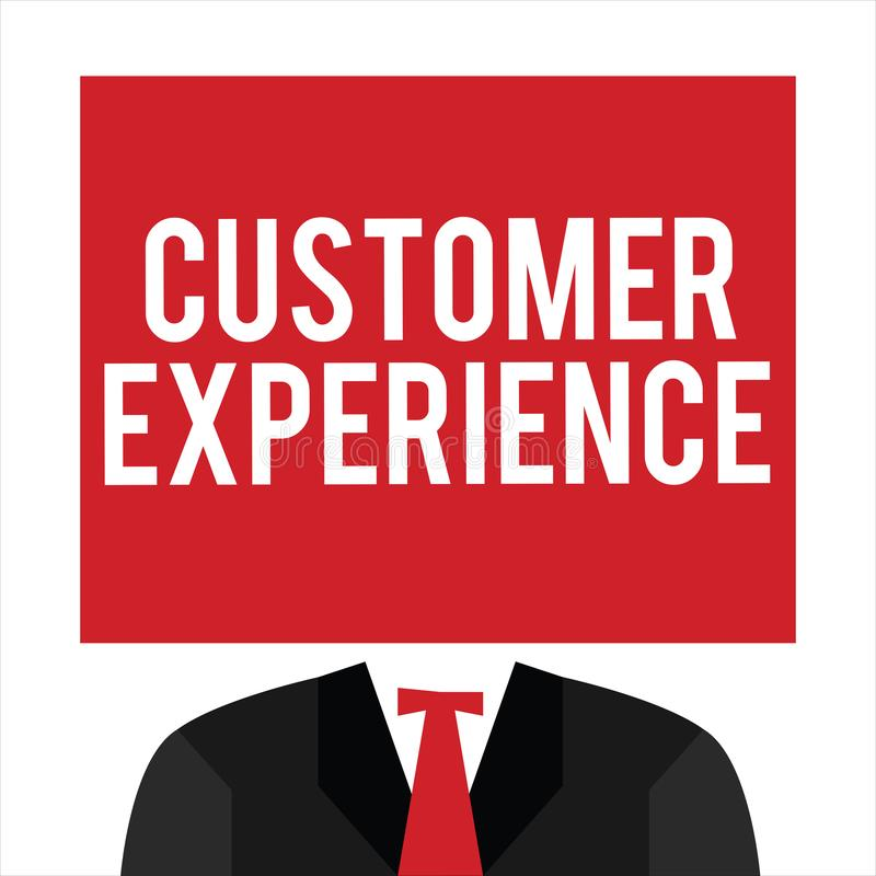 Handwriting text Customer Experience. Concept meaning Interaction between Satisfied Customer and Organization.  vector illustration