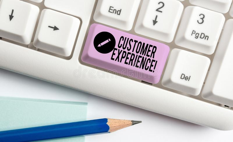 Handwriting text Customer Experience. Concept meaning product of interaction between organization and buyer White pc keyboard with. Handwriting text Customer stock images