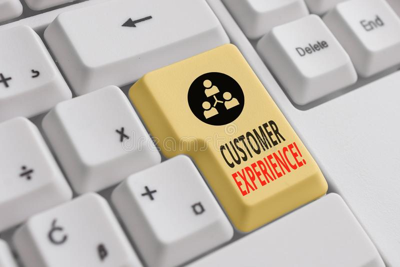 Handwriting text Customer Experience. Concept meaning product of interaction between organization and buyer White pc keyboard with. Handwriting text Customer royalty free stock images