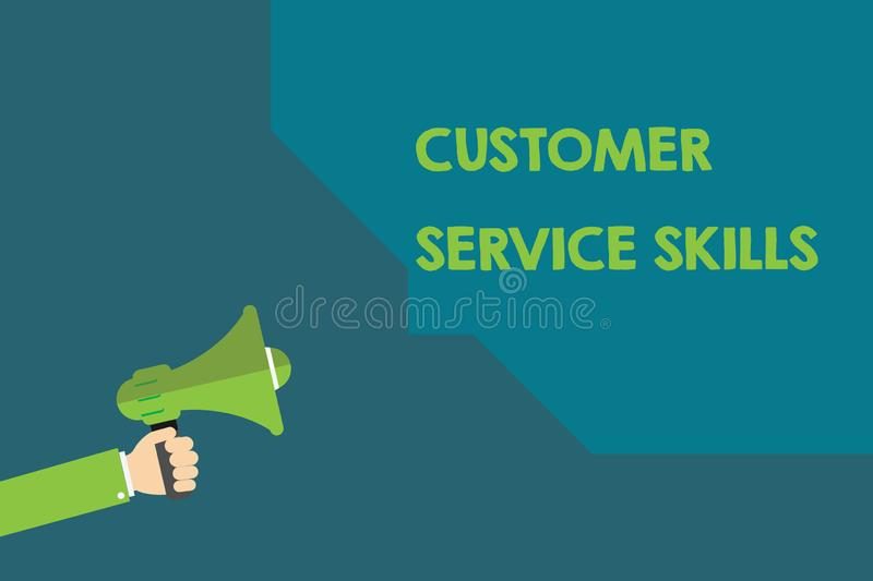 Handwriting text Customer Service Skills. Concept meaning Aptitude to master to improve dealings with client.  royalty free illustration