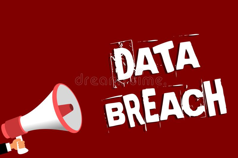 Handwriting text Data Breach. Concept meaning security incident where sensitive protected information copied Man holding megaphone. Loudspeaker red background stock photos