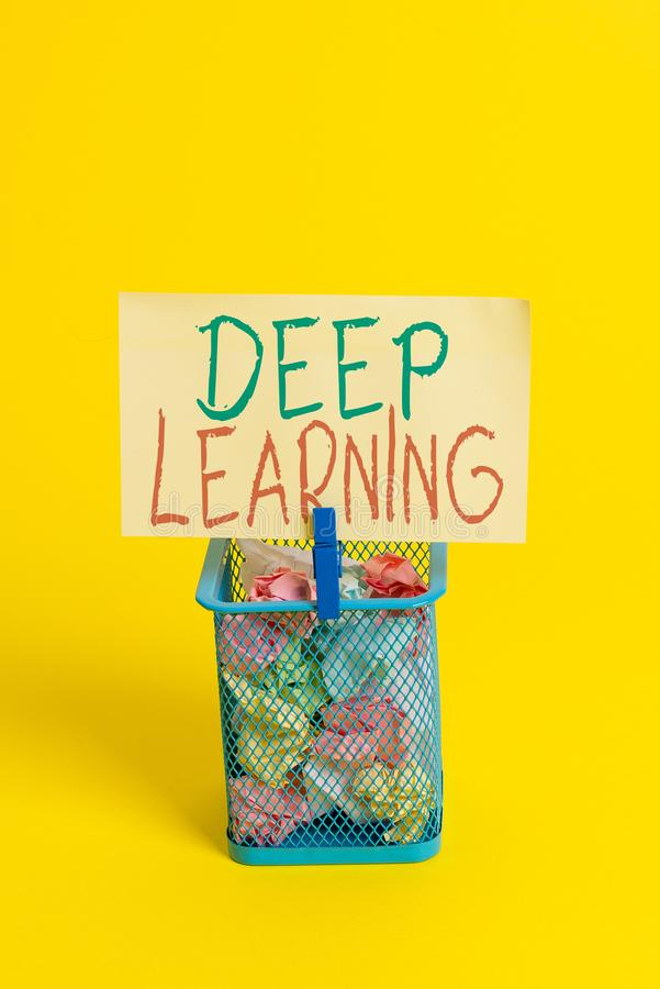 Handwriting text Deep Learning. Concept meaning Hierarchical Abstractions Artificial Intelligence Algorithm Trash bin crumpled. Handwriting text Deep Learning royalty free stock images