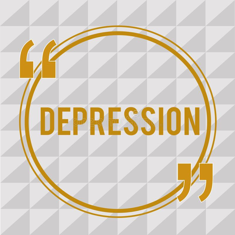 Handwriting text Depression. Concept meaning Feelings of severe despondency and dejection Mood disorder.  vector illustration