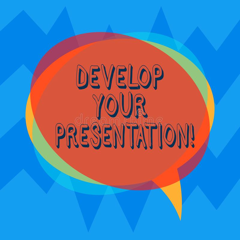 Handwriting text Develop Your Presentation. Concept meaning improve the public speaking or giving a talk Blank Speech. Bubble photo and Stack of Transparent stock illustration