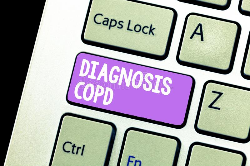 Handwriting text Diagnosis Copd. Concept meaning obstruction of lung airflow that hinders with breathing.  stock image