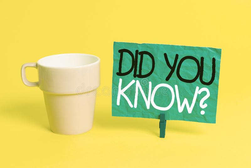 Handwriting text Did You Know Question. Concept meaning when you are asking someone if they know fact or event Cup empty. Handwriting text Did You Know Question royalty free stock photography