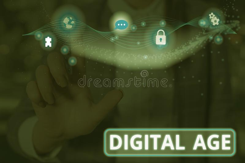 Handwriting text Digital Age. Concept meaning introduction of the demonstratingal computer with subsequent technology. Handwriting text Digital Age. Conceptual royalty free stock photos