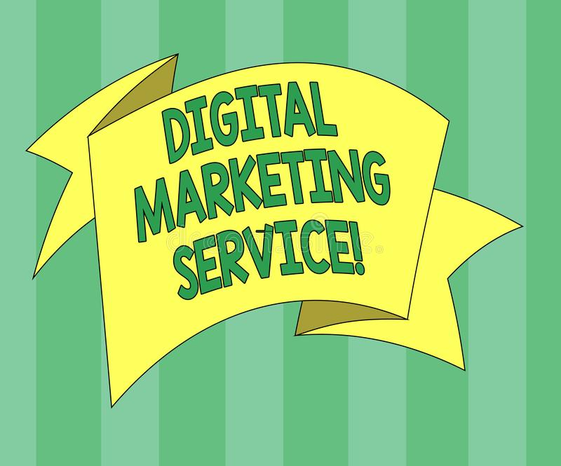 Handwriting text Digital Marketing Service. Concept meaning services using digital channels to reach consumers Folded 3D Ribbon. Strip Solid Color Blank Sash royalty free illustration