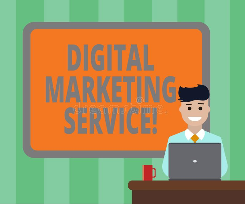 Handwriting text Digital Marketing Service. Concept meaning services using digital channels to reach consumers Blank Bordered. Board behind Man Sitting Smiling vector illustration