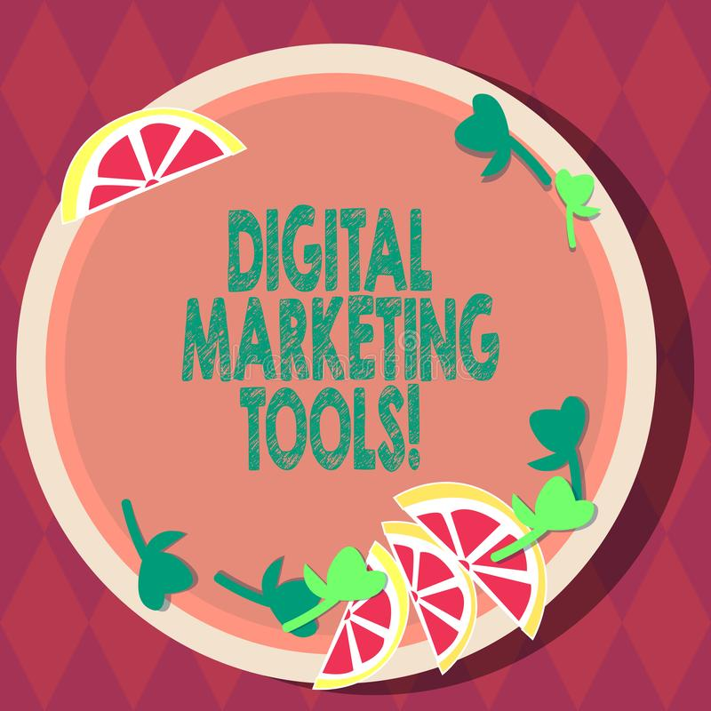 Handwriting text Digital Marketing Tools. Concept meaning Channels or platforms use in advertising a product Cutouts of Sliced vector illustration