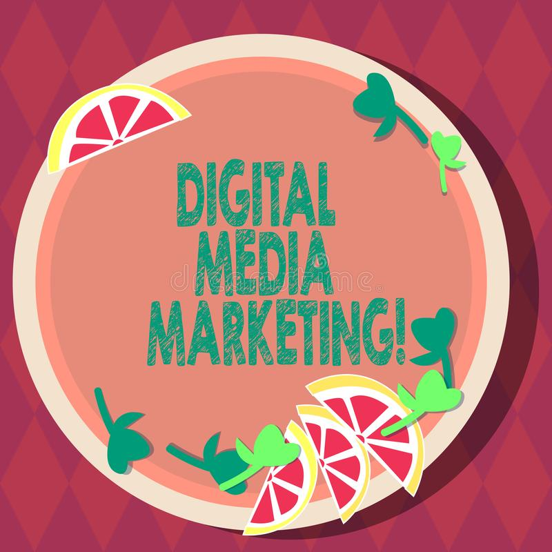 Handwriting text Digital Media Marketing. Concept meaning Use of numerous digital tactics and channels Cutouts of Sliced. Lime Wedge and Herb Leaves on Blank royalty free illustration