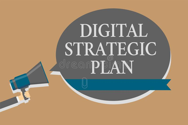 Handwriting text Digital Strategic Plan. Concept meaning creat schedule for marketing product or brand Grey colour sound speaker m. Ultiline text message idea stock illustration
