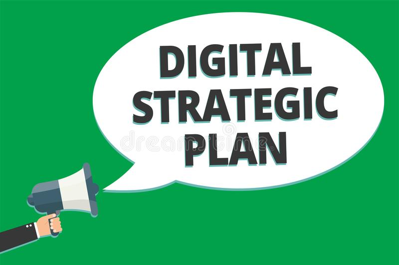 Handwriting text Digital Strategic Plan. Concept meaning creat schedule for marketing product or brand Message idea information te. Xt public loud speaker green royalty free illustration