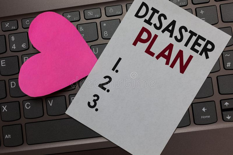 Handwriting text Disaster Plan. Concept meaning Respond to Emergency Preparedness Survival and First Aid Kit Paper Romantic lovely. Message Heart Keyboard Type royalty free stock image