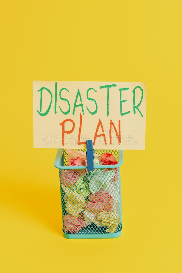 Handwriting text Disaster Plan. Concept meaning Respond to Emergency Preparedness Survival and First Aid Kit Trash bin. Handwriting text Disaster Plan stock images