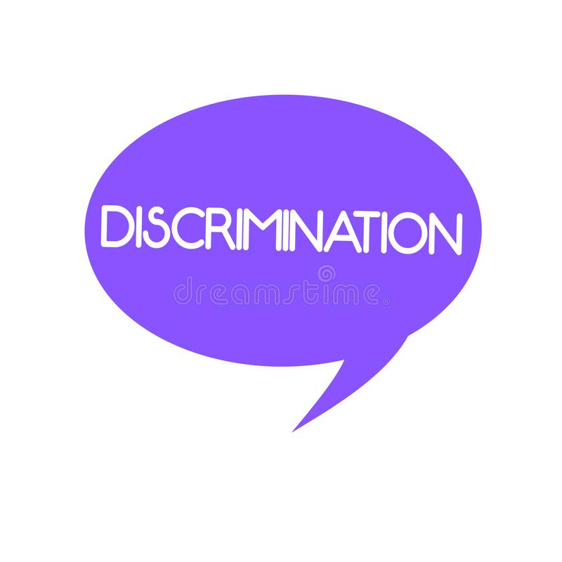 Handwriting text Discrimination. Concept meaning Prejudicial treatment of different categories of showing.  royalty free illustration
