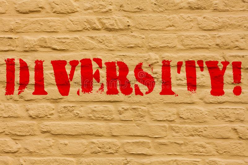 Handwriting text Diversity. Concept meaning Being Composed of different elements Diverse Variety Multiethnic Brick Wall. Handwriting text Diversity. Conceptual stock illustration