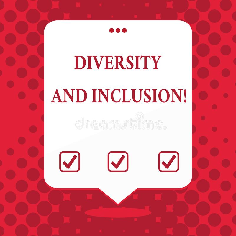 Handwriting text Diversity And Inclusion. Concept meaning range huanalysis difference includes race ethnicity gender. Handwriting text Diversity And Inclusion royalty free illustration