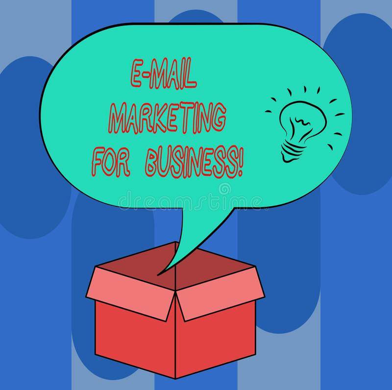 Handwriting text E Mail Marketing For Business. Concept meaning Mailing as advertising campaign strategies Idea icon. Inside Blank Halftone Speech Bubble Over vector illustration