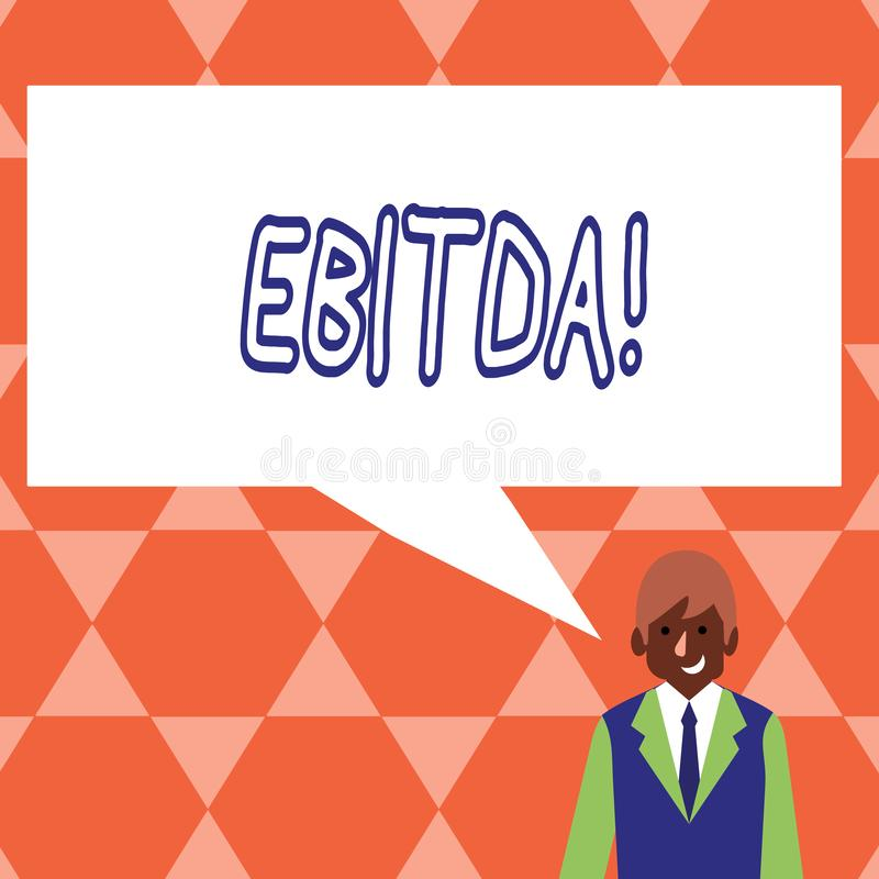 Handwriting text Ebitda. Concept meaning Earnings before tax is measured to evaluate company perforanalysisce. royalty free illustration
