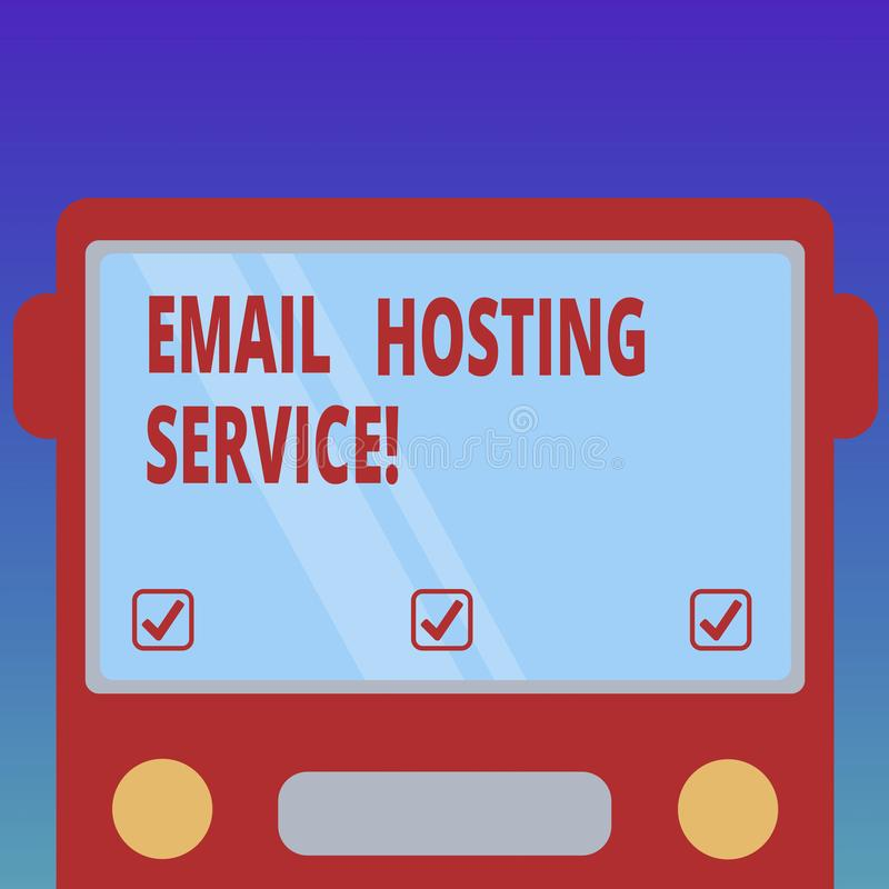 Handwriting text Email Hosting Service. Concept meaning Internet hosting service that operates email server Drawn Flat Front View. Of Bus with Blank Color vector illustration