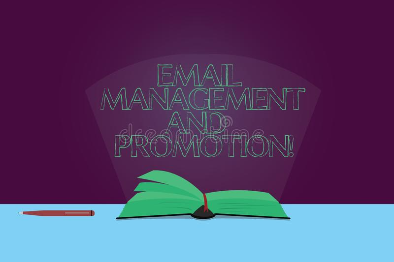 Handwriting text Email Management And Promotion. Concept meaning Mailing as advertising campaign strategies Color Pages. Of Open Book photo on Table with Pen royalty free illustration