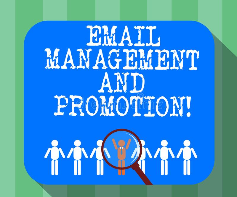 Handwriting text Email Management And Promotion. Concept meaning Mailing as advertising campaign strategies Magnifying. Glass Over Chosen Man Figure Among the stock illustration