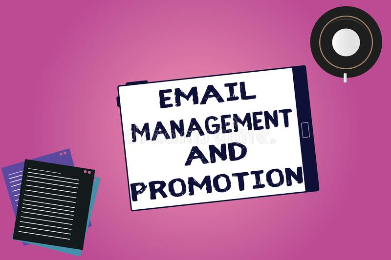 Handwriting text Email Management And Promotion. Concept meaning Mailing as advertising campaign strategies Tablet Empty. Screen Cup Saucer and Filler Sheets on vector illustration