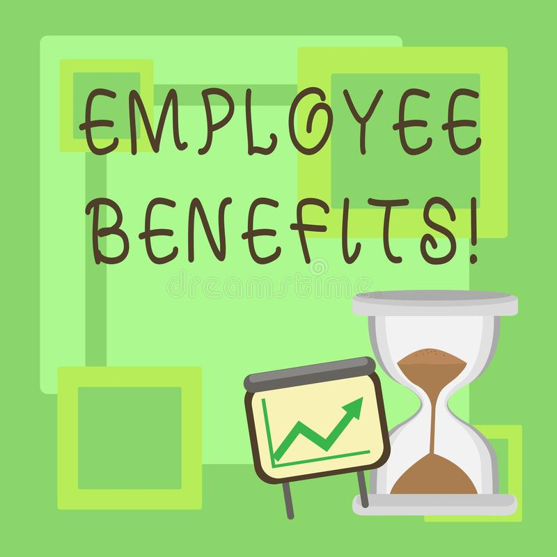 Handwriting text Employee Benefits. Concept meaning list of advantage recruiter get at work Insurance. Handwriting text Employee Benefits. Concept meaning list royalty free illustration