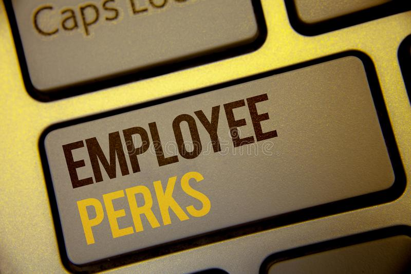 Handwriting text Employee Perks. Concept meaning Worker Benefits Bonuses Compensation Rewards Health Insurance Text two Words writ stock photography