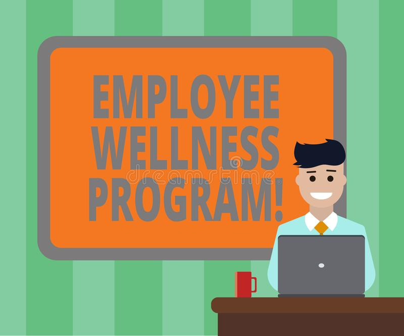 Handwriting text Employee Wellness Program. Concept meaning Help improve the health of its labor force Blank Bordered Board behind. Man Sitting Smiling with stock illustration