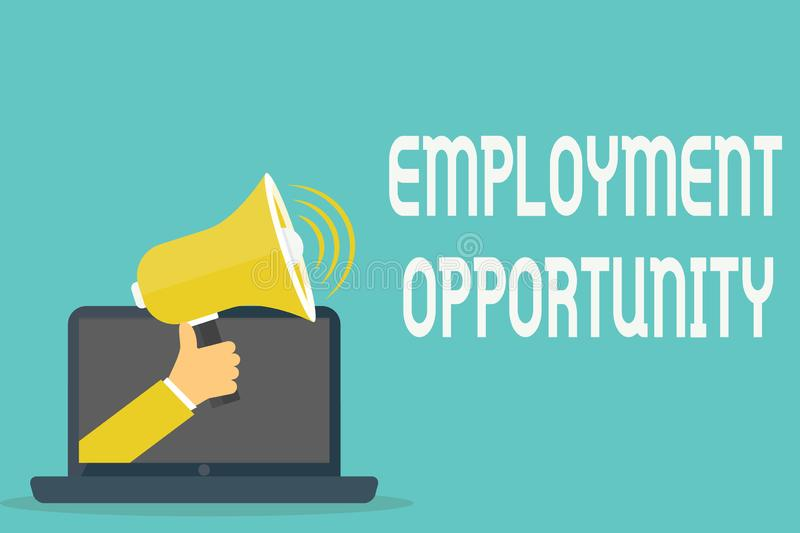 Handwriting text Employment Opportunity. Concept meaning no Discrimination against Applicant Equal Policy.  royalty free illustration
