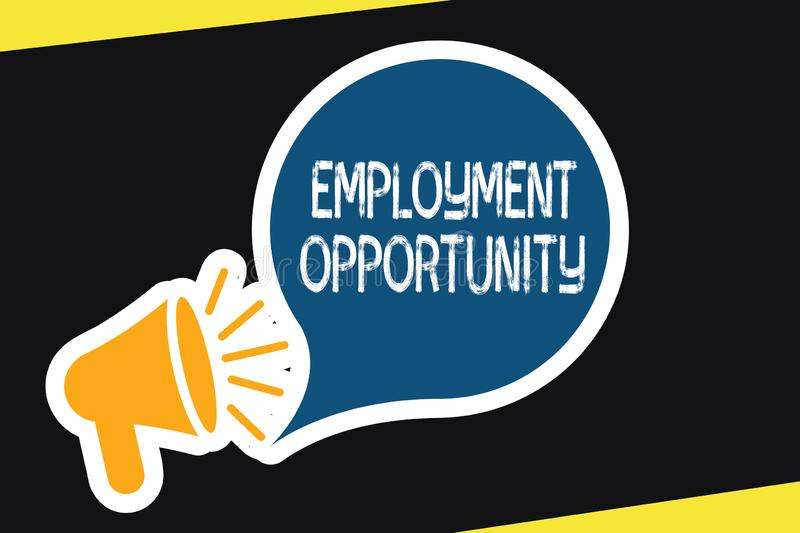 Handwriting text Employment Opportunity. Concept meaning no Discrimination against Applicant Equal Policy.  vector illustration