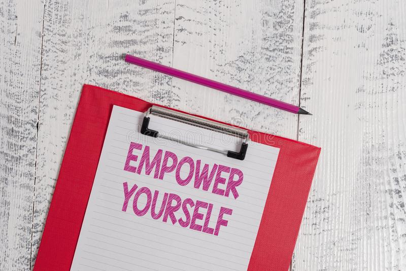Handwriting text Empower Yourself. Concept meaning taking control of life setting goals positive choices Colored. Handwriting text Empower Yourself. Conceptual royalty free stock image