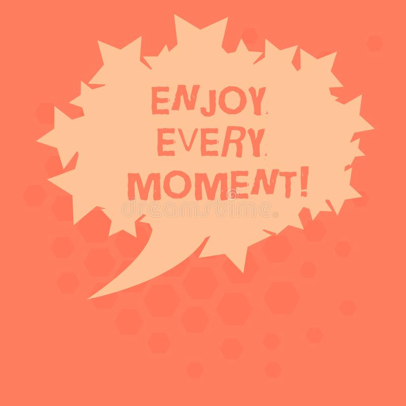 Handwriting text Enjoy Every Moment. Concept meaning Remove unneeded possessions Minimalism force live present Blank. Oval Color Speech Bubble with Stars as stock illustration