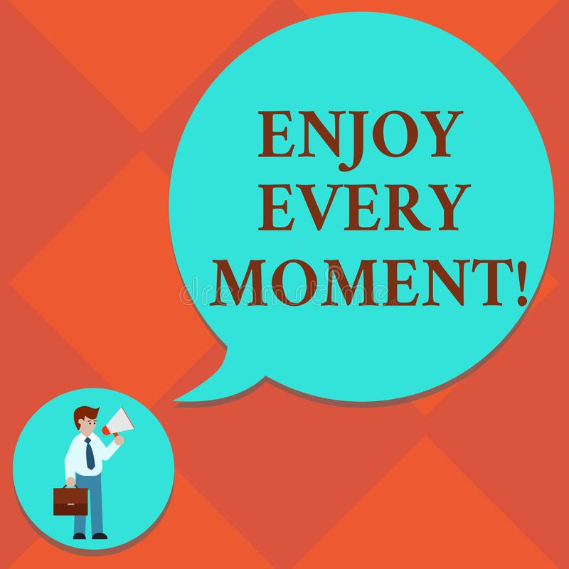 Handwriting text Enjoy Every Moment. Concept meaning Remove unneeded possessions Minimalism force live present Man in. Necktie Carrying Briefcase Holding vector illustration