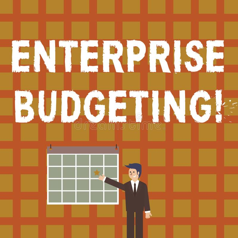 Handwriting text Enterprise Budgeting. Concept meaning estimated income and expenses associated in business Businessman. Handwriting text Enterprise Budgeting royalty free illustration