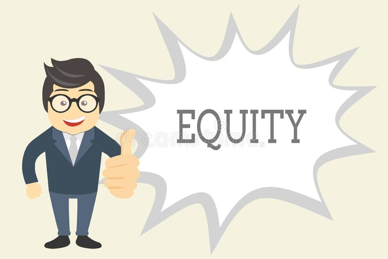 Handwriting text Equity. Concept meaning Value of a company divided into equal parts owned by shareholders.  vector illustration
