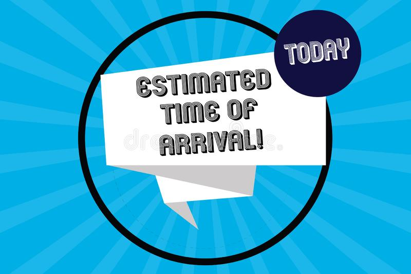 Handwriting text Estimated Time Of Arrival. Concept meaning Hours at which a flight is supposed to arrive Folded 3D. Ribbon Strip inside Circle Loop on Halftone vector illustration